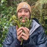 Haylee Koroi forages for pikopiko