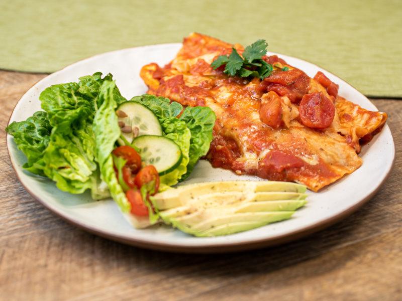 He Kai Kei Aku Ringa Pork Enchiladas & Green Salad